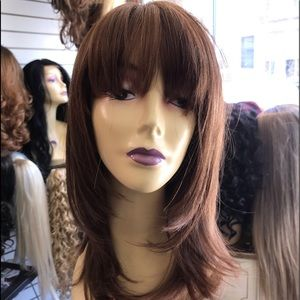 Copper brown skin top Bangs Wig Layers 2019 style